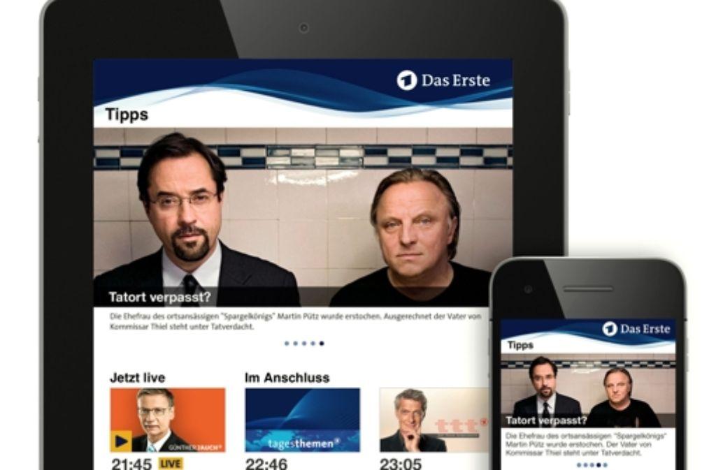 Die neue Das Erste App ermöglicht den Nutzer von  Smartphones und Tablets den direkten Zugriff auf Videos, Livestreams und TV-Tipps der ARD. Foto: ARD