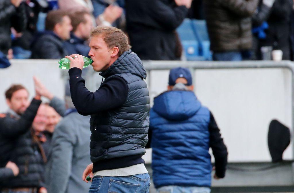 Hoffenheims Trainer Julian Nagelsmann wird für seinen Flaschenwurf im Spiel gegen Borussia Mönchengladbach nicht bestraft. Foto: Pressefoto Baumann
