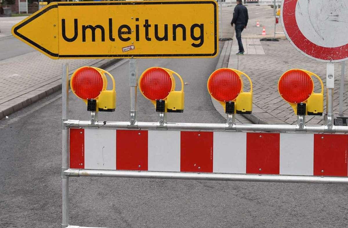 Kein Durchkommen: Ein Abschnitt der Dornierstraße auf der Hulb ist bis voraussichtlich Ende Mai gesperrt Foto: Kreiszeitung Böblinger Bote/Thomas Bischof
