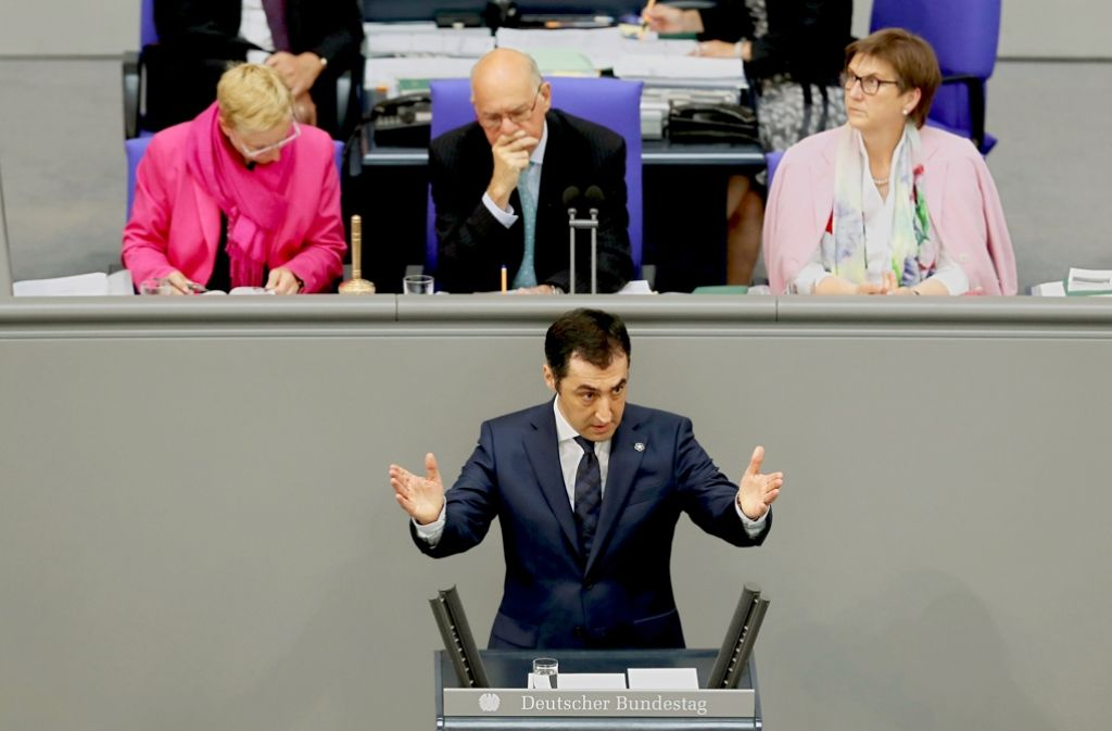 """Cem Özdemir in der Debatte über die Armenien-Resolution: Wie die große Mehrheit des Bundestags stimmte der Grünen-Chef dafür, die Verfolgung der Armenier als """"Völkermord"""" zu bezeichnen. Foto: Getty Images"""