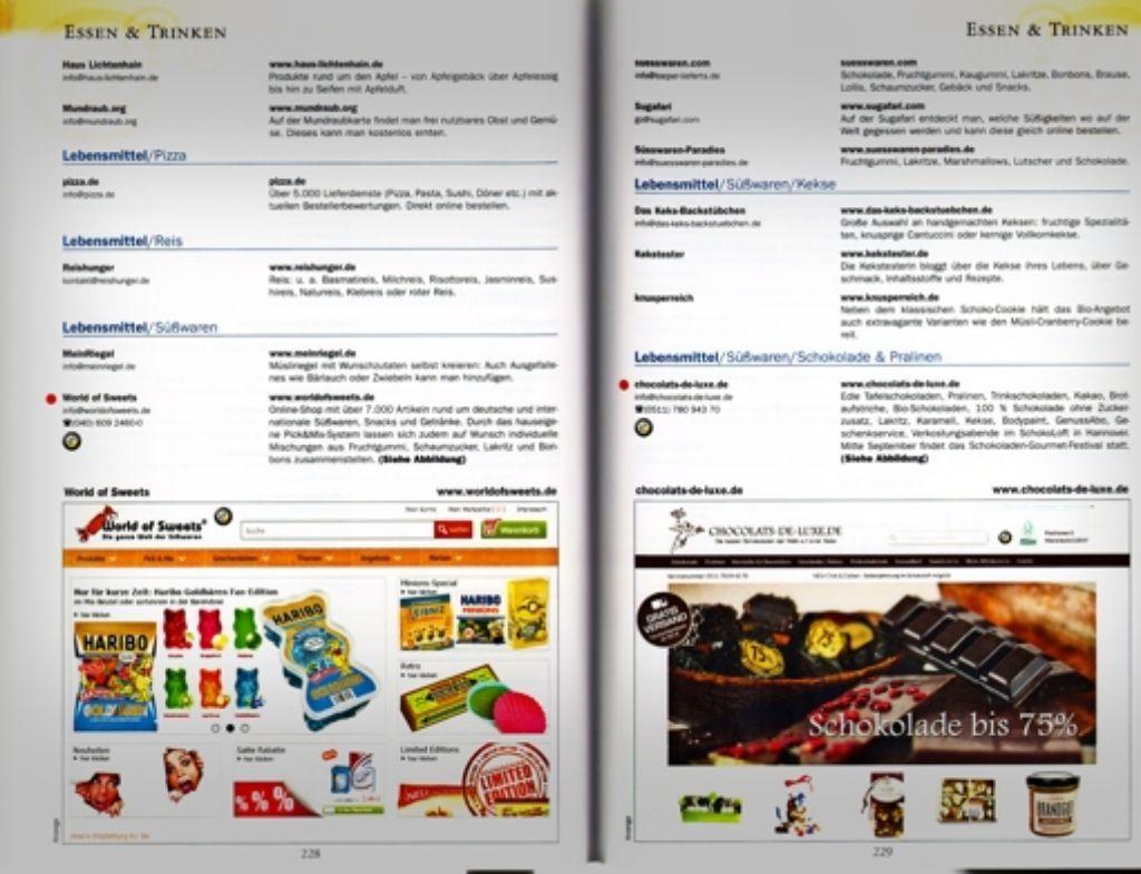 Webadressen zum Selbereintippen, ein paar Erläuterungen, Screenshots als Werbung – so funktioniert das Adressbuch. Foto: VerlagRepro: StZ