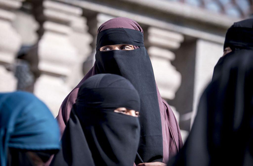 Nikab-tragende Frauen stehen vor dem dänischen Parlament. In Dänemark darf man sein Gesicht von August an in der Öffentlichkeit nicht mehr verhüllen. Foto: Ritzau Scanpix Foto/AP