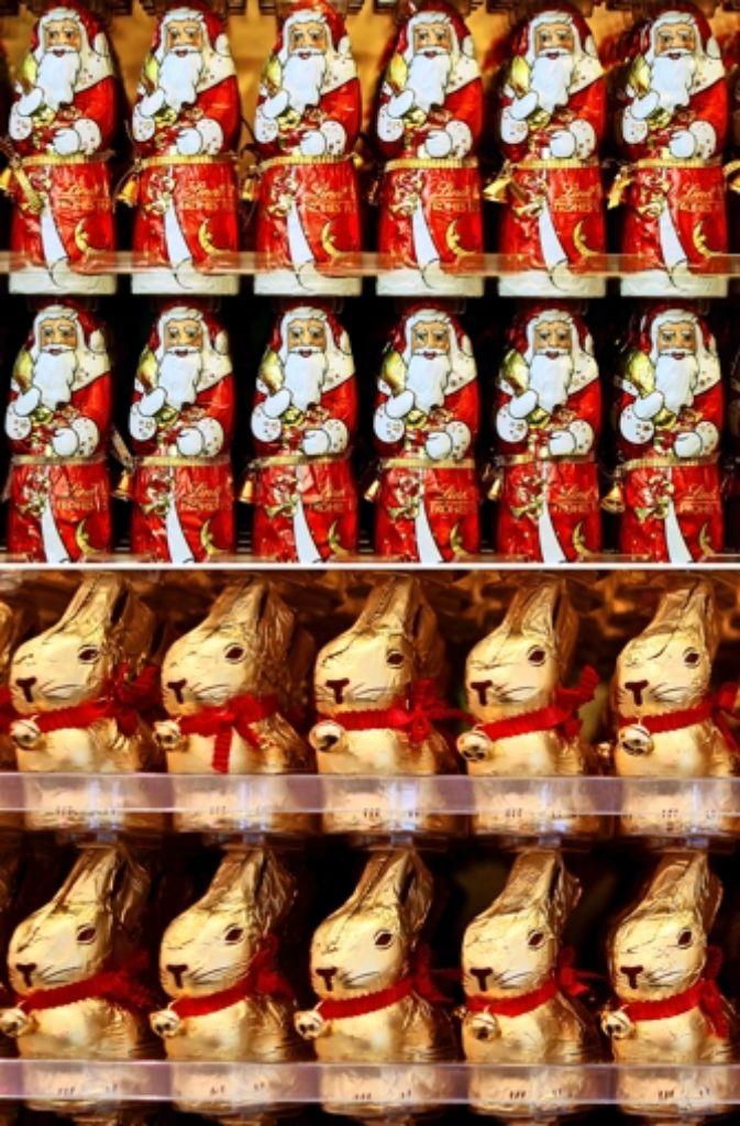 Was passiert mit übrigen Schoko-Weihnachtsmännern nach Weihnachten?. Foto: dpa