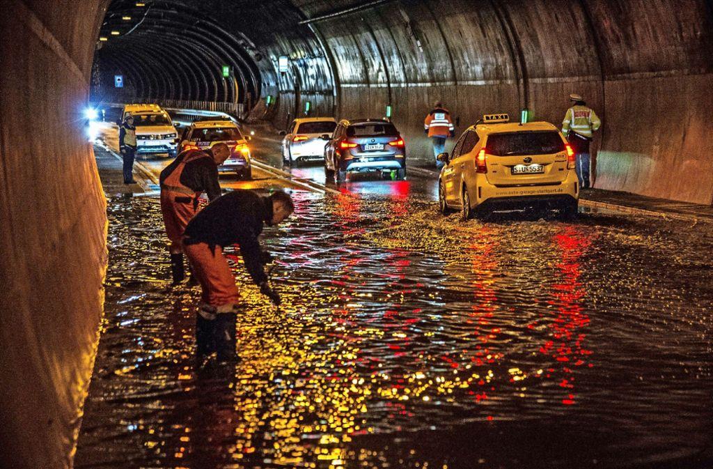 Bei den starken Regenfällen am 18. Juni dieses Jahres stand auch die Ostumfahrung Vaihingen unter Wasser. Foto: SDMG