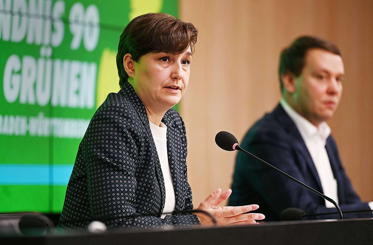 Grünen-Spitze im Land: Sandra Detzer (links) und Oliver Hildenbrand Foto: dpa/Marijan Murat