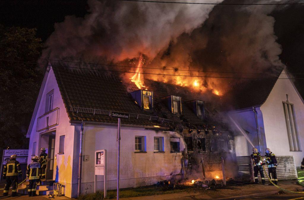 Der größte Brand in Stammheim ist der am Vereinsheim des TV gewesen. Foto: 7aktuell