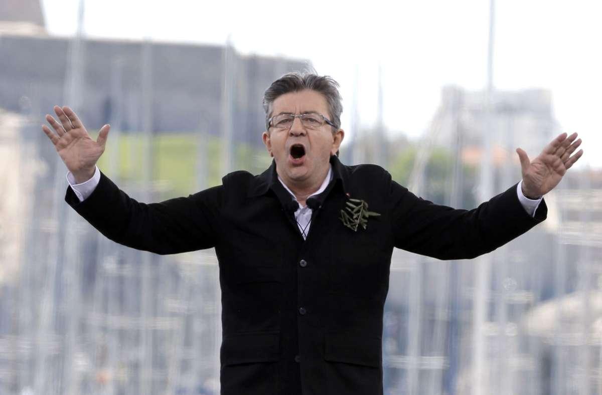 """Der linke Präsidentschaftskandidat Jean-Luc Mélenchon raunte jüngst im Fernsehen von """"einem Mord vor der Wahl"""". Foto: dpa/Claude Paris"""