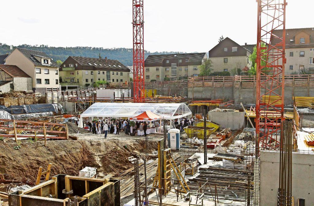Das neue Gerlinger Stadtquartier an der Ecke Hauptstraße und Leonberger Straße nimmt Gestalt an. Foto: factum/Bach