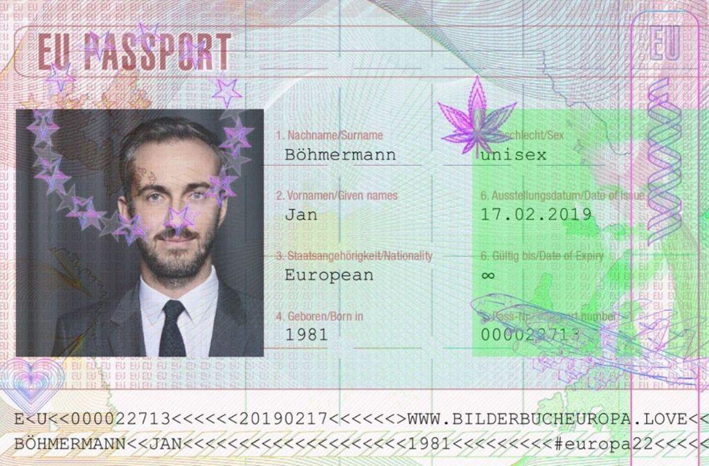 "Der ""EU-Passport"" von Fernsehmoderator Jan Böhmermann. Foto: Screenshot/Twitter/@janboehm"