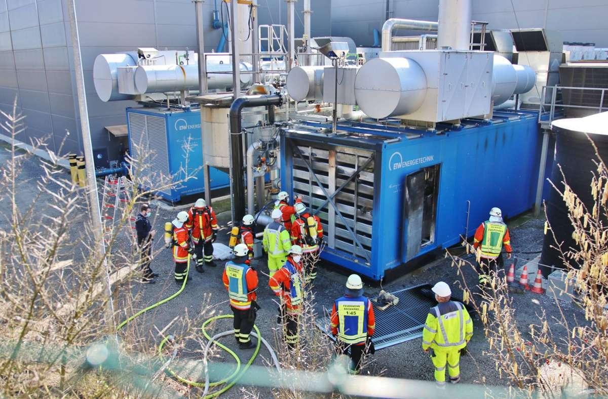 Der Brand war im Technikraum der Biogasanlage ausgebrochen. Foto: 7aktuell.de/Kevin Lermer