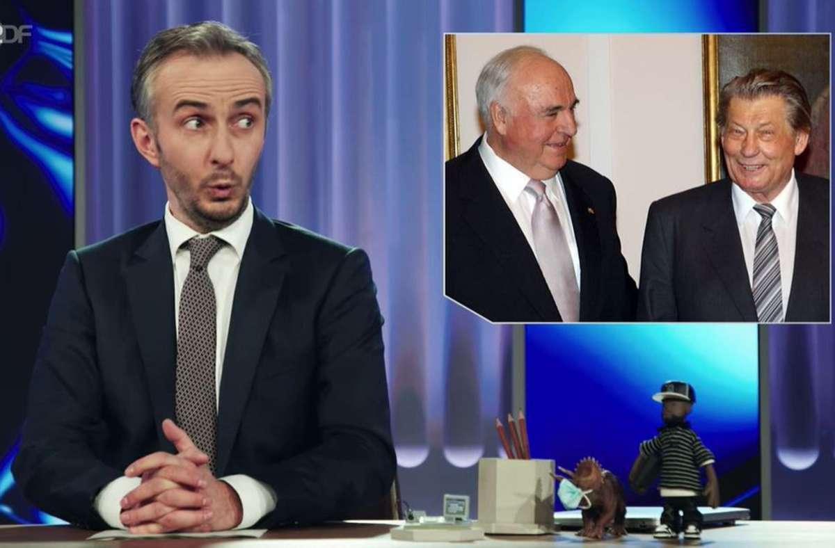 Jan Böhmermann und  zwei Männer, die er nur begrenzt bewundert: Helmut Kohl und Medienunternehmer Leo Kirch Foto: ZDF/Screenshot