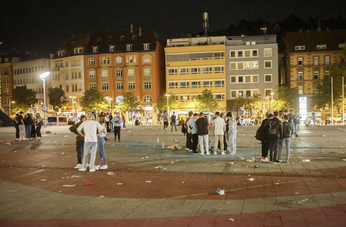 Der Marienplatz  ist am Wochenende ein beliebter Treffpunkt, an dem es hoch hergehen kann. Foto: Lichtgut/Julian Rettig