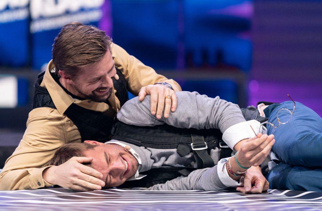 """Die Entertainer hatten die Sendezeit bei der Spielshow """"Joko & Klaas gegen ProSieben"""" gewonnen. Foto: dpa/ProSieben"""