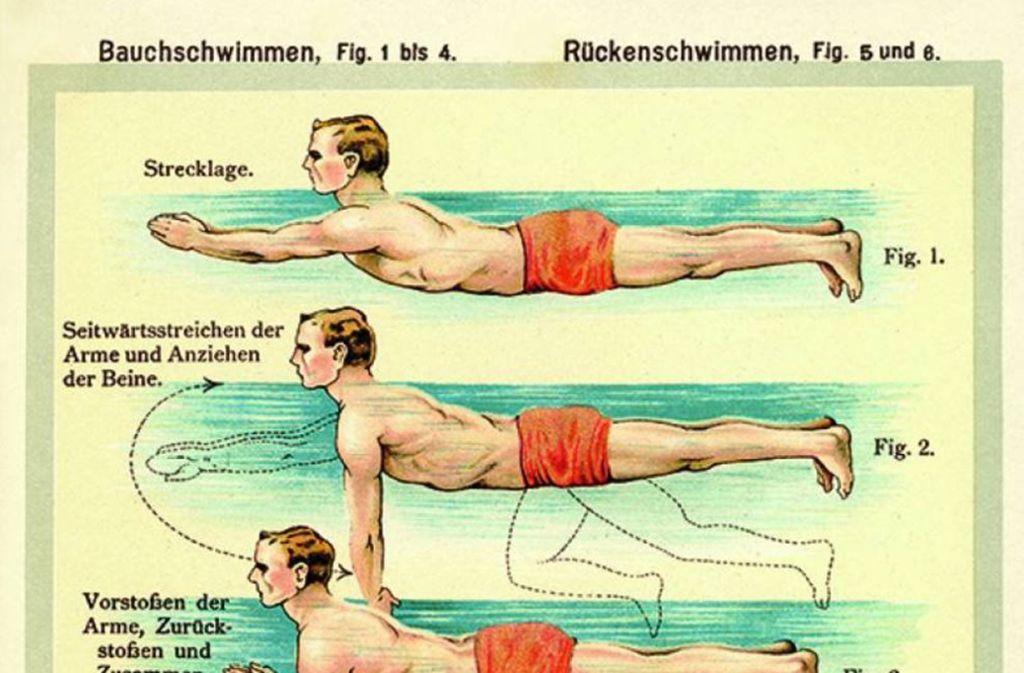 """So macht man es richtig: Anleitung zum Schwimmen in der  Ausstellung """"Baden in Schönheit"""" Foto:"""