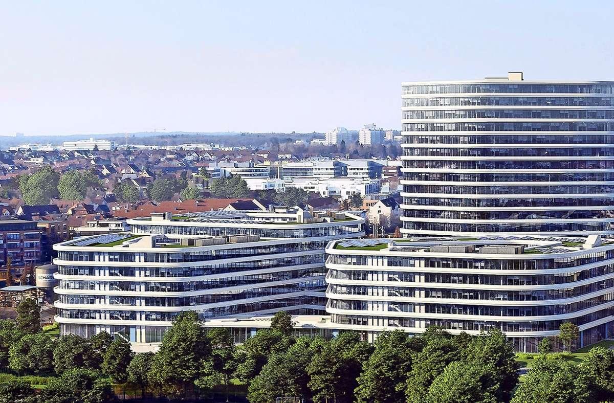 So soll der Allianz-Park Stuttgart für rund 4500 Mitarbeiter einmal aussehen. Foto: Allianz