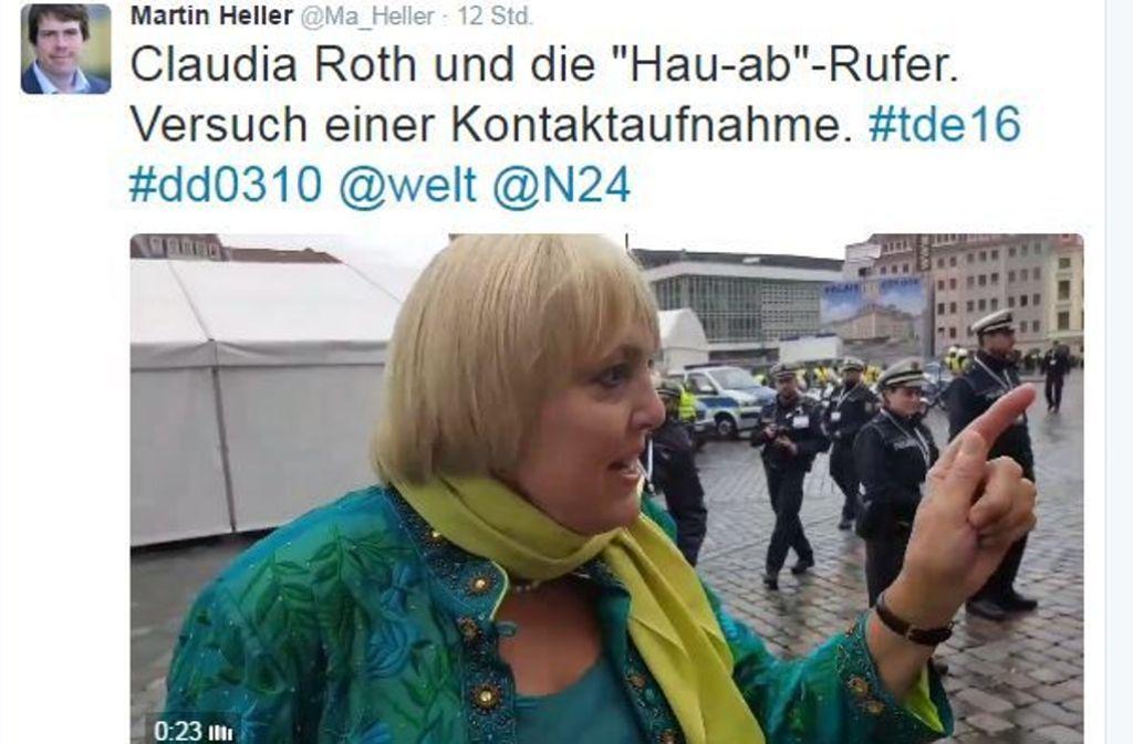 Das Video von Claudia Roth und den sächselnden Pöbeldemonstranten geistert durchs Netz. Foto: Twitter/@Ma_Heller