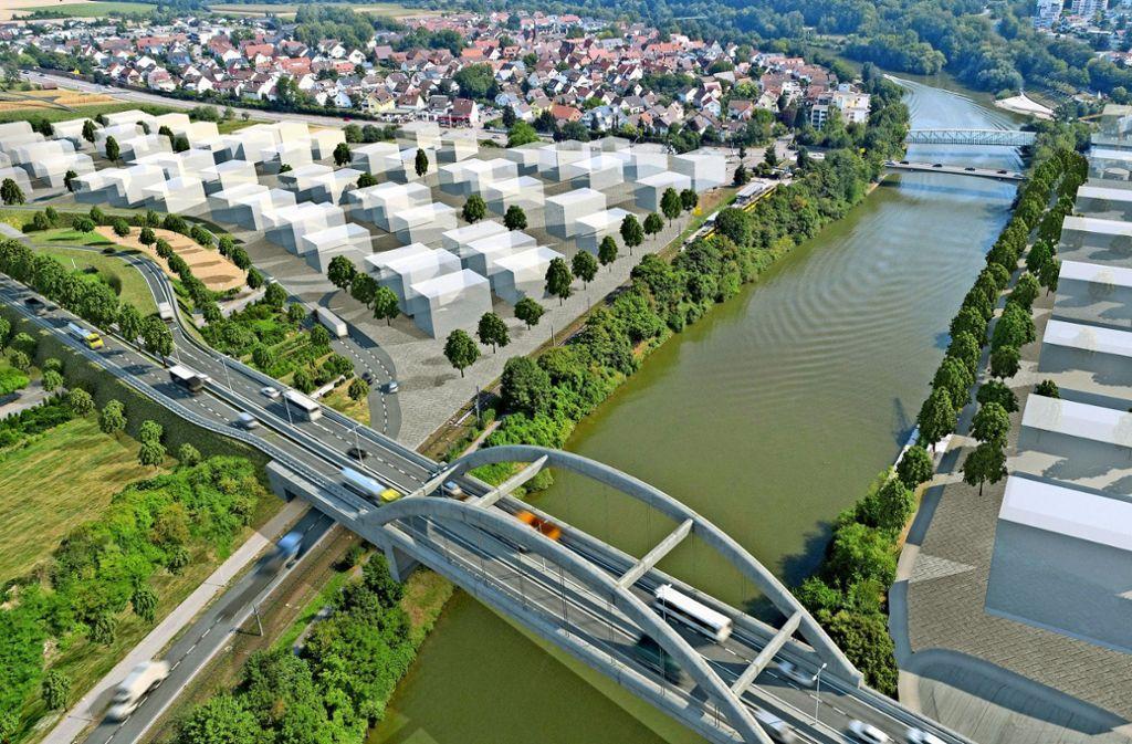 """Eine Remsecker Bürgerinitiative spricht  von einer geplanten """"Monsterbrücke"""" über den Neckar  – und hat Pläne dafür im Netz veröffentlicht. Foto: Wir für morgen! e.V."""