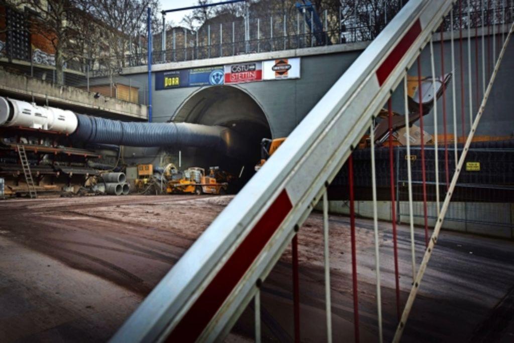 Baustelle am Fuß des Wagenburgtunnels:  Anwohner klagen über  Lärm. Foto: Zweygarth