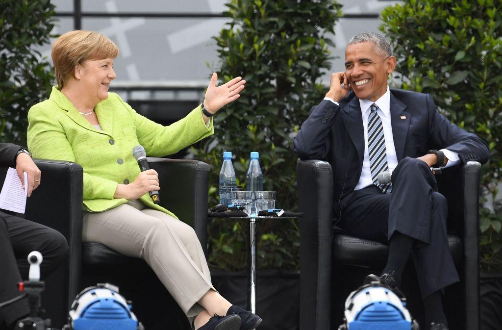 Beim Besuch in Berlin hat sich Barack Obama indirekt gegen Donald Trump positioniert. Foto: dpa