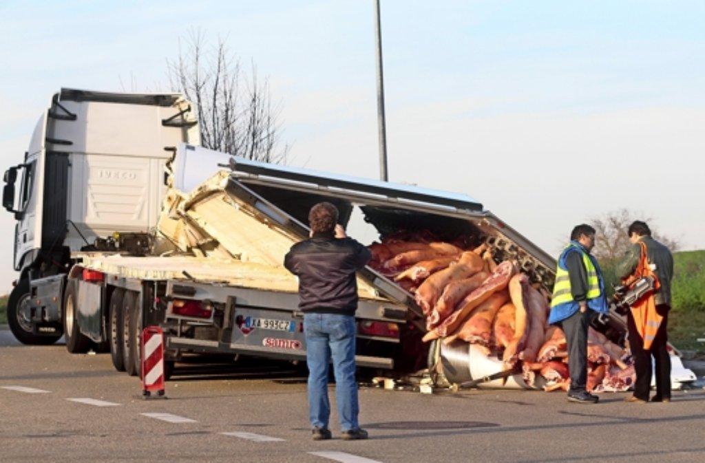 20 Tonnen Schweinehälften liegen auf der Straße bei Hemmingen. Foto: factum/Granville