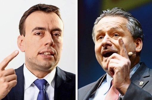 FDP-Spitzenkandidat Hans-Ulrich Rülke (rechts) triumphiert; SPD-Vormann Nils Schmid hat ihm seine Verhandlungsbereitschaft avisiert. Foto: dpa