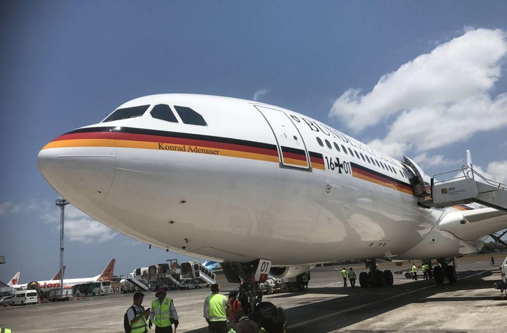 Das Regierungsflugzeug auf Bali – ungeplanter Zwangsstopp. Foto: dpa