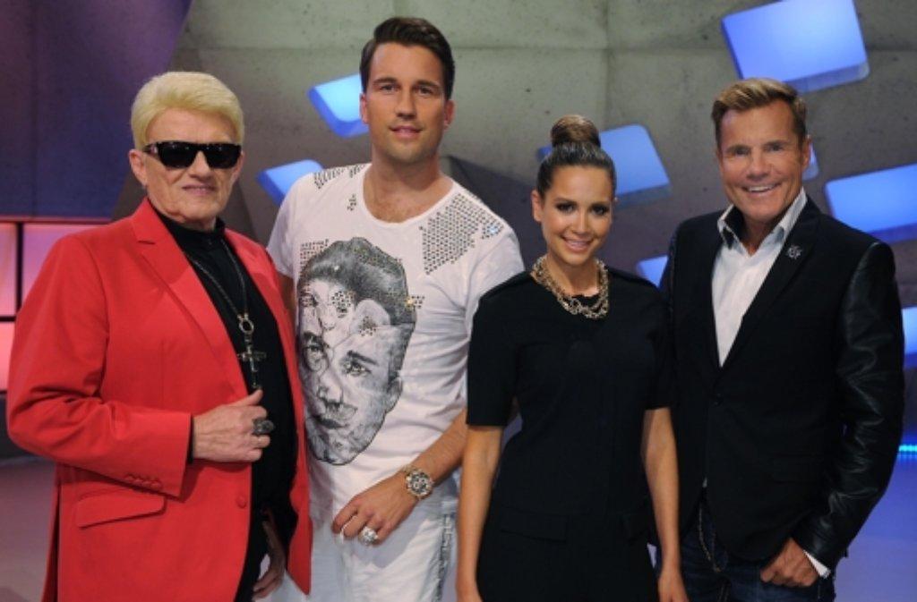 DSDS hat wieder begonnen. Die Jury der zwölften Staffel (von links): Heino, DJ Antoine, Mandy Capristo und Dieter Bohlen. Mandy wurde gleich zu Beginn der Show von zwei Kandidatinnen angefeindet. Foto: dpa