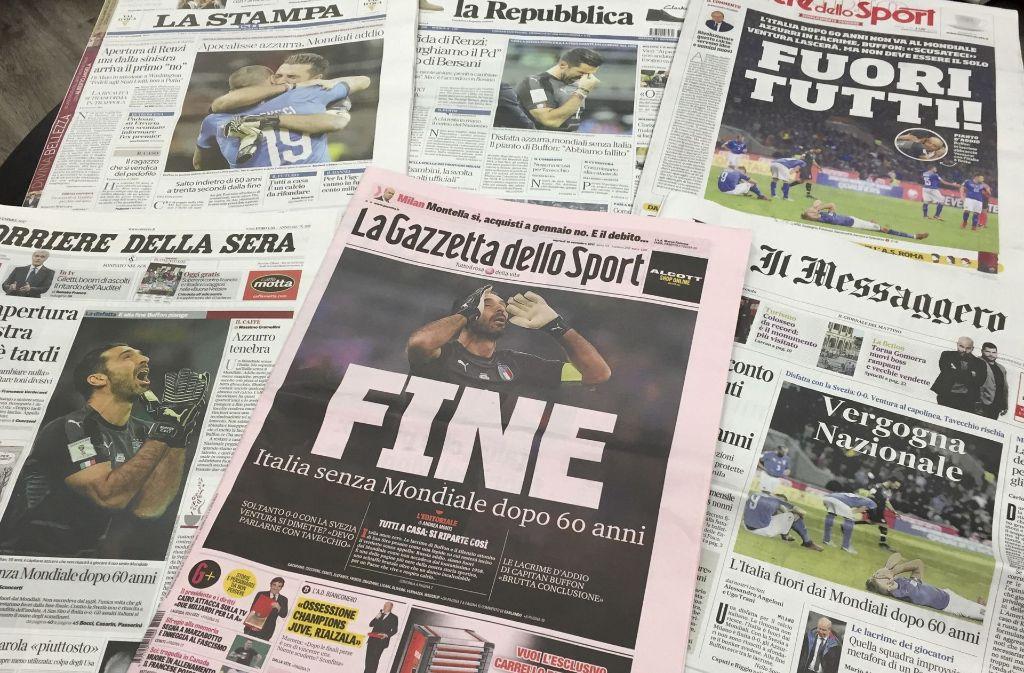 Das Ende: die italienische Presse ist fassungslos über das Scheitern der Fußballer. Foto: AP