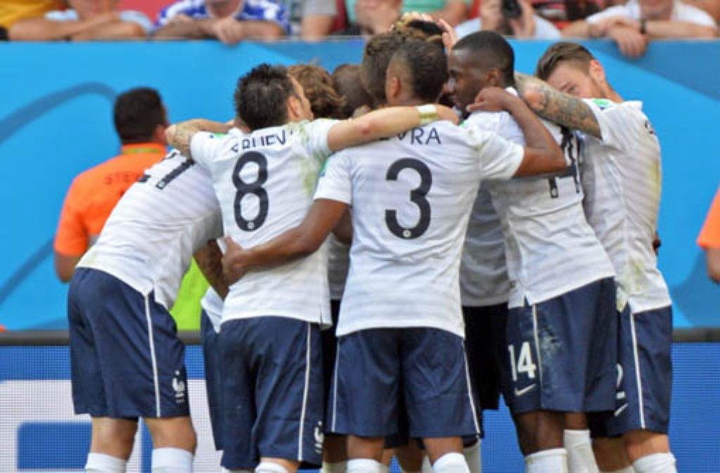 Die WM-Achtelfinalpartie Frankreich gegen Nigeria. Foto: dpa