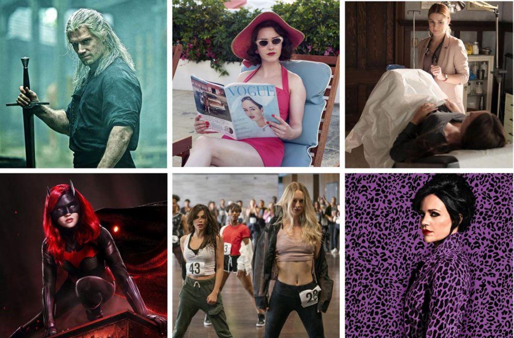 """Helden- und Heldinnengeschichten der etwas anderen Art: """"The Witcher"""", """"The Marvelous Mrs. Maisel"""", """"Virgin River"""", """"Jett"""", """"Soundtrack"""", """"Batwoman"""" (von links oben im Uhrzeigersinn) Foto: Netflix"""