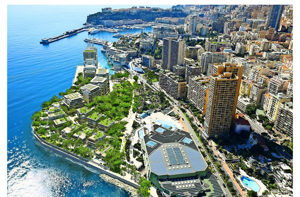 Die Visualisierung zeigt, wie die  künstliche Halbinsel im Meer vor Monacos Küste aussehen soll. Das Bauprojekt wird mehr als zwei Milliarden Euro kosten. Foto: L'Anse du Portier /Valode et Pistre
