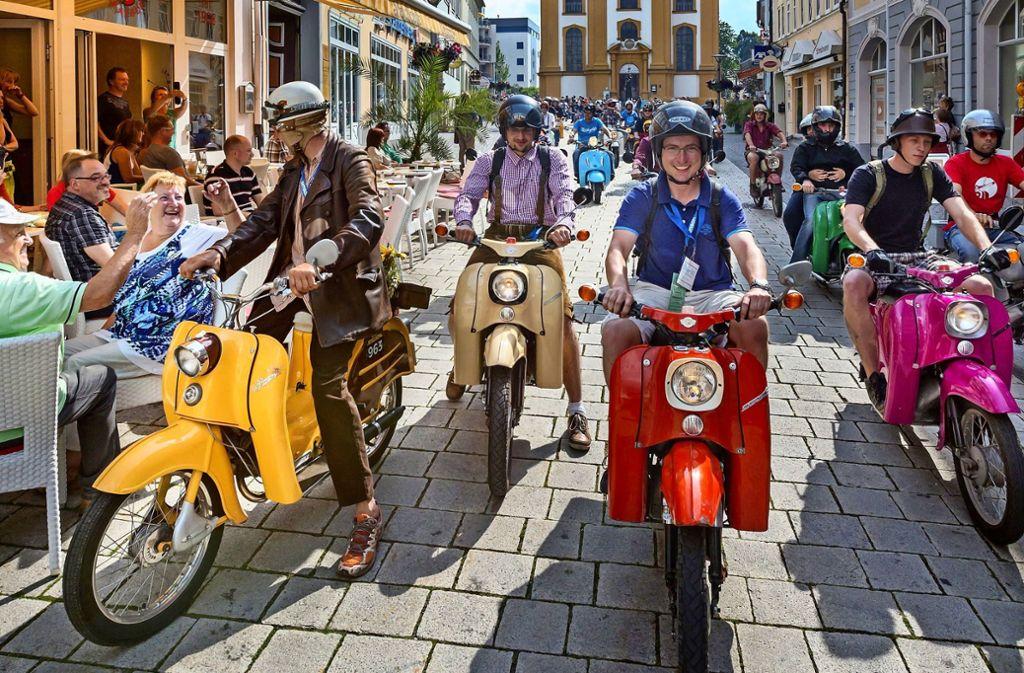 In Suhl in Thüringen wurden die Kult-Zweiräder Schwalbe hergestellt. Foto: dpa