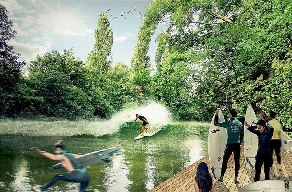 So stellte sich der Verein Neckarwelle sein Freizeitvergnügen in Untertürkheim vor (Foto links). Die Mitglieder übten bereits an Ort und Stelle das Paddeln im Vorfluter.. Foto: Verein/Lichtgut
