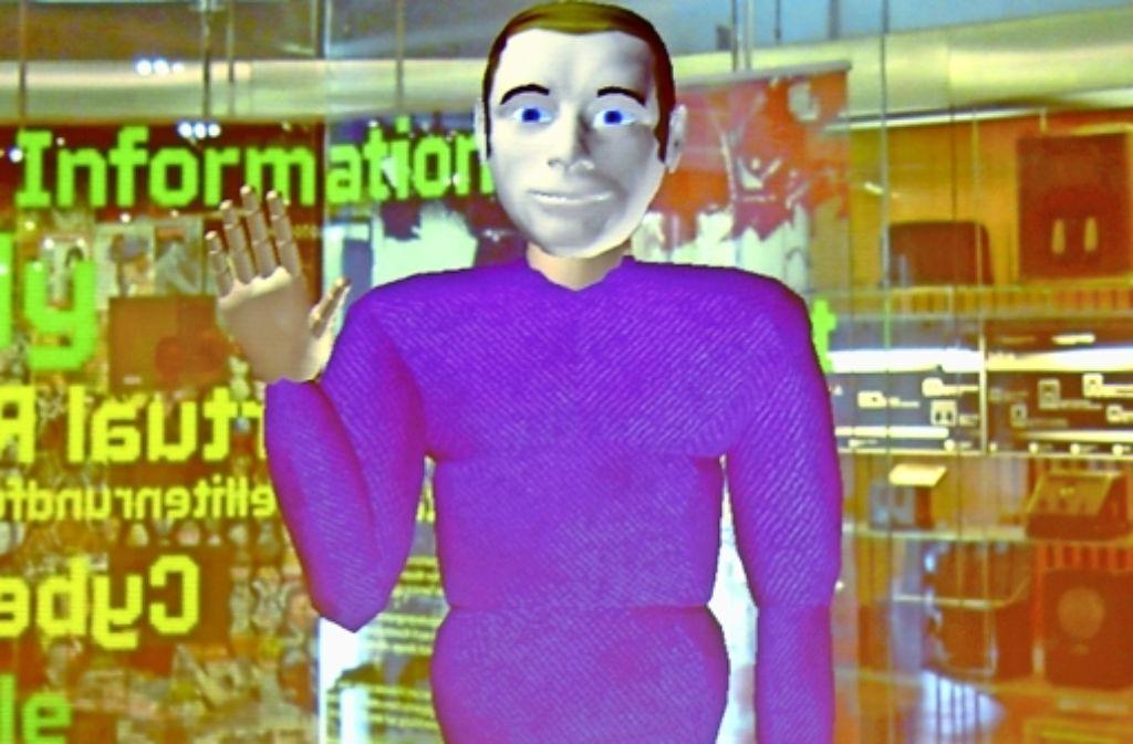 Der Avatar Max begrüßt im Heinz-Nixdorf-Museum in Paderborn die Gäste und beantwortet ihre Fragen. Foto: Jan Braun / HNF