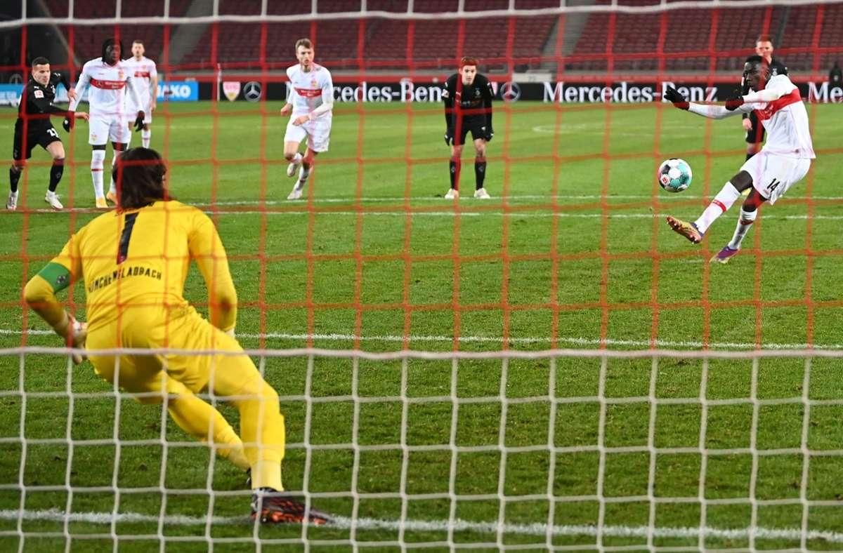 Silas Wamangituka traf in der Nachspielzeit für den VfB Stuttgart gegen Borussia Mönchengladbach. Foto: dpa/Marijan Murat