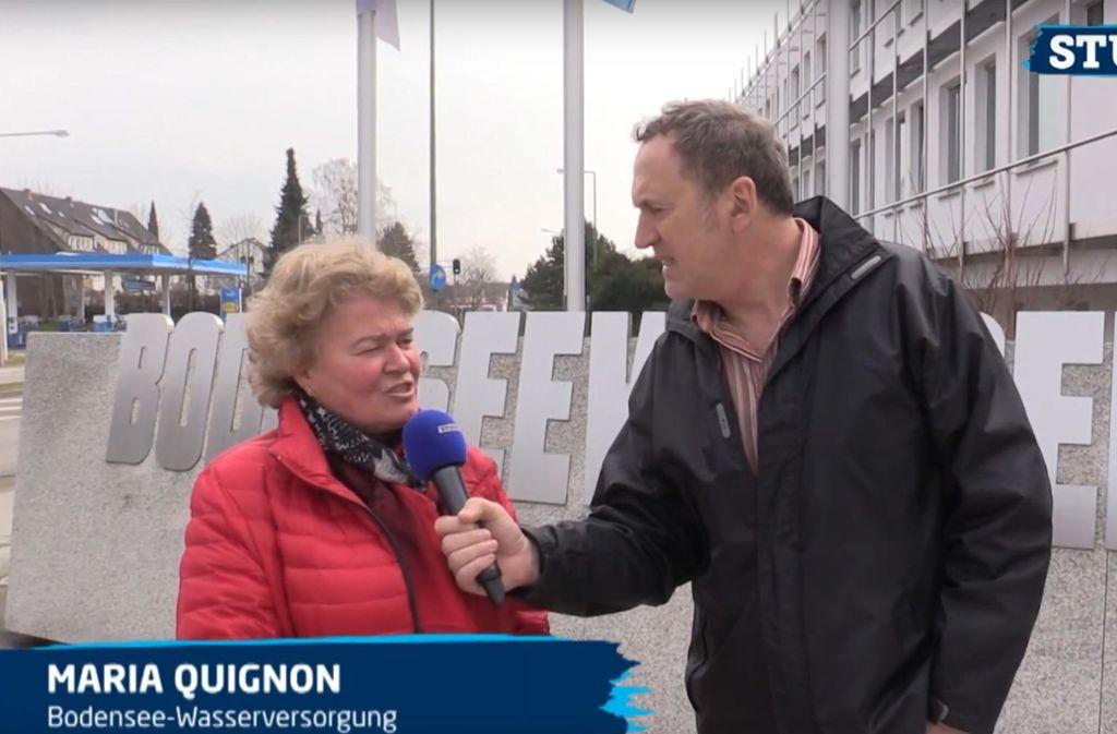 StZN-Redakteur Tom Hörner mit Pressesprecherin Maria Quignon. Foto: Stuggi.TV