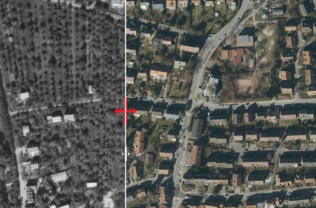Der Sillenbucher Stadtteil Riedenberg ist seit 1955 stark gewachsen. Wo einst Gärten und Obstbaumwiesen waren, stehen heute Häuser. Foto: Stadtmessungsamt/Plavec