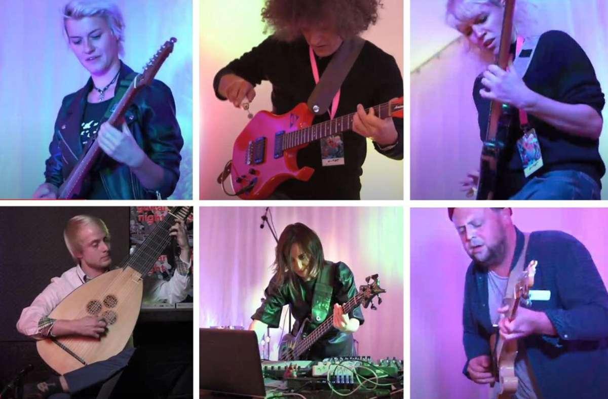 Saitenkünstler bei der Guitar Night (von  links oben im Uhrzeigersinn): Yasi Hofer, Thomas Maos, Monika Roscher, Christoph Neuhaus, Angie Taylor, Silas Bischoff Foto: Kunststiftung