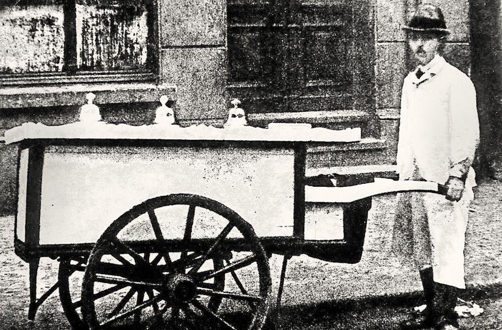 Der Eisverkäufer Wieland im Jahre 1935 Foto: