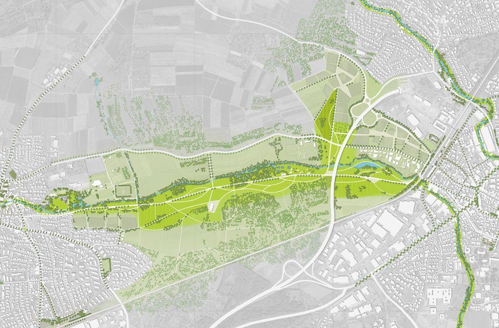 Das Zipfelbachtal verbindet Schwaikheim – im Bild links –  und Winnenden. Hier soll die Landesgartenschau 2032 stattfinden – falls sich die Pläne durchsetzen. Foto: Stadt Winnenden