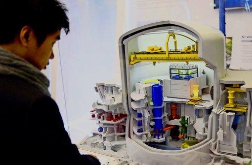 """Ein Besucher der """"Welt-Nuklear-Ausstellung"""" in Paris betrachtet das Modell eines Atomkraftwerkes. Man könnte den Reaktor  auch dort kaufen. Foto: AFP"""