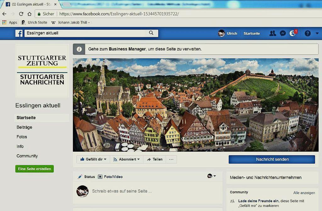 Dieser Screenshot zegt unseren neuen Facebook-Auftritt für den Landkreis Esslingen. Foto: Screenshot