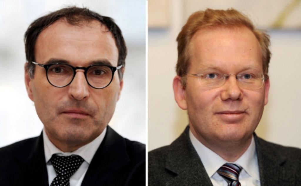 Die Politiker Andreas Renner (links) und Sebastian Turner bewerben sich für die CDU für das Amt des Oberbürgermeisters. Foto: dpa
