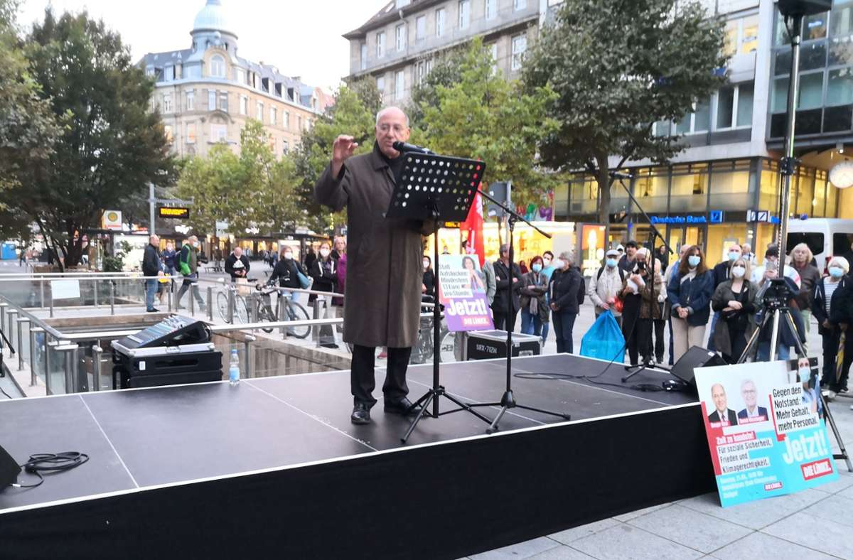 Gregor Gysi bei seinem Auftritt in Stuttgart Foto: Andreas Rosar/Fotoagentur Stuttgart