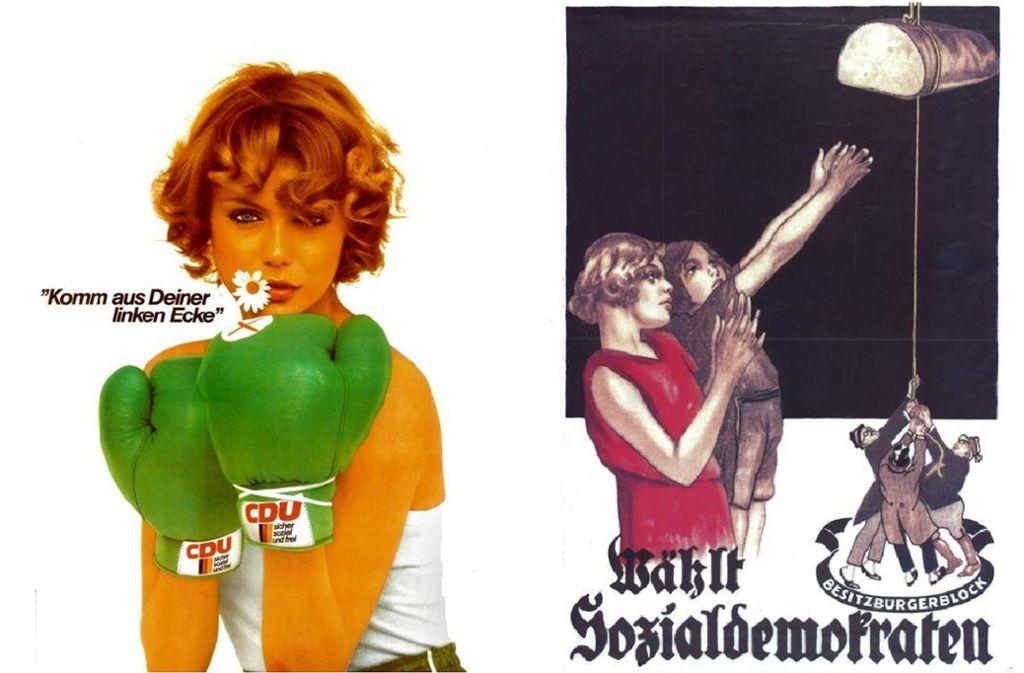 Die CDU  stellt sich die ideale  Frau  1977 kampflustig, aber  auch sexy vor, während die Sozialdemokraten fünfzig Jahre früher die moderne Frau mit Bubikopf im Blick hatte. Foto: Adrenauer-Stiftung, Ebert-Stiftung