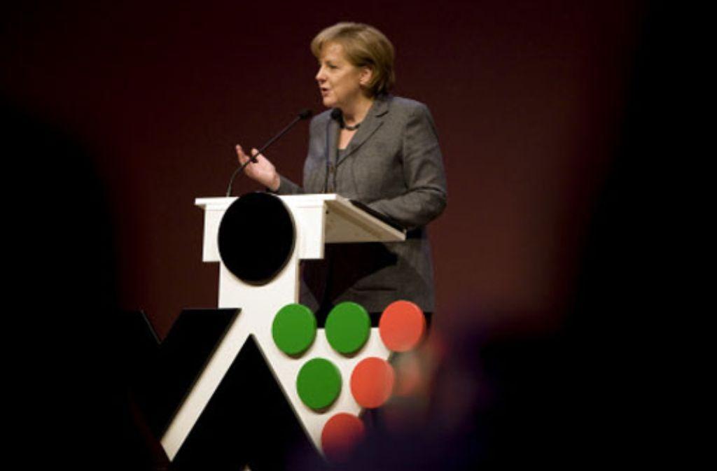 Die Kanzlerin sprach zur Eröffnung der Fachmesse auf den Fildern. Foto: Steinert