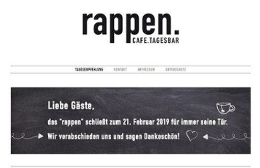 Die Tagesbar Rappen ist geschlossen
