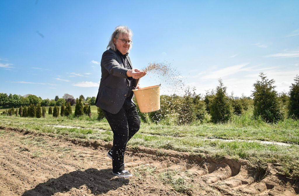 Bürgermeister Peter  Pätzold streut Samen auf das Feld. Foto: