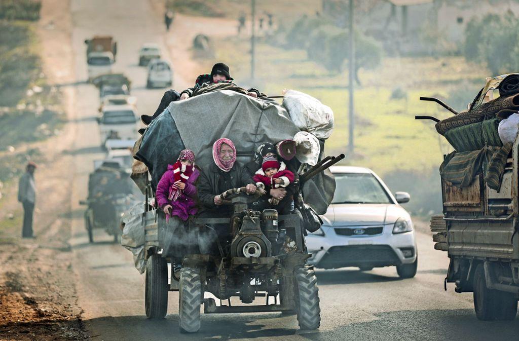 Flüchtlinge in Syrien zu Beginn des Jahres. Foto: dpa/Anas Alkharboutli