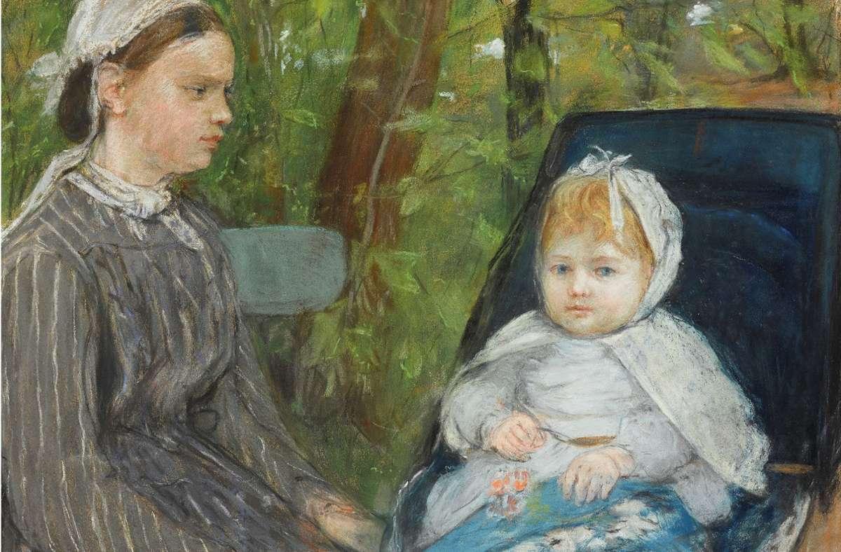 """Berthe Morisots Pastell """"Amme und Kind"""" gehört jetzt der Staatsgalerie. Foto: Staatsgalerie"""